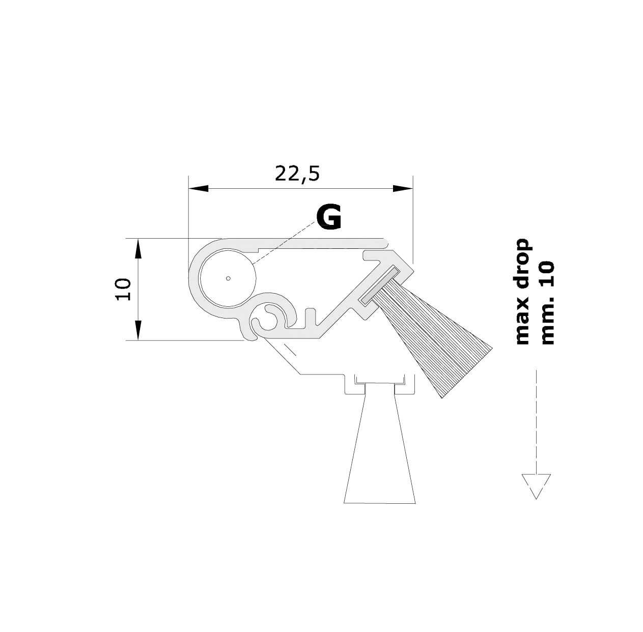 Misure standard (mm) per il paraspifferi Serie Special 110