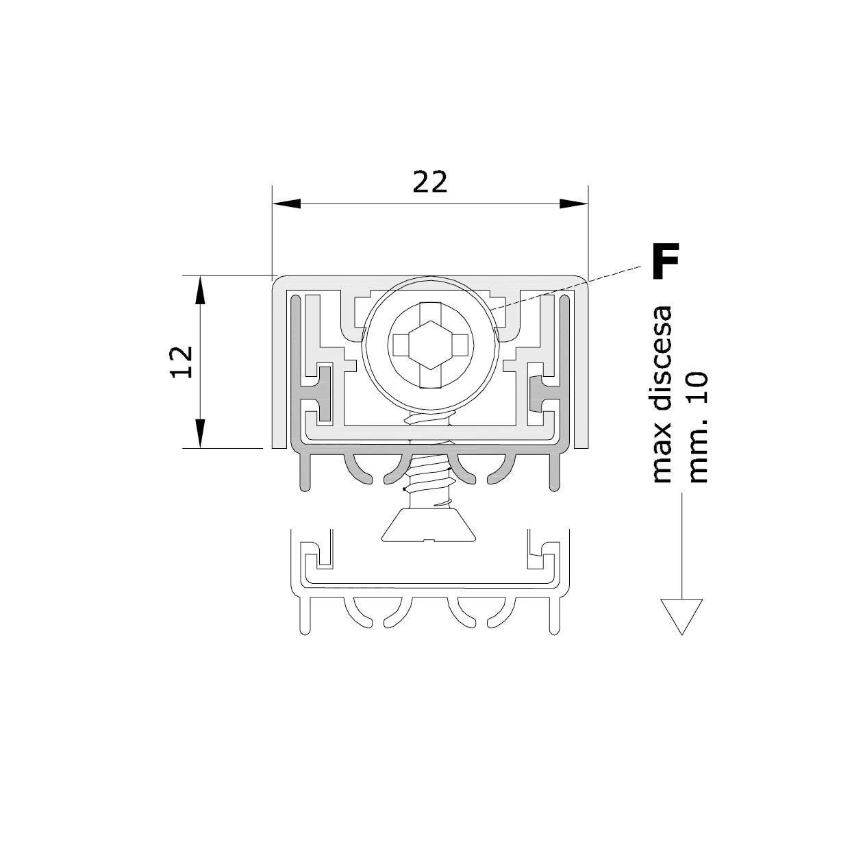 Misure standard (mm) per il paraspifferi Serie Special 170