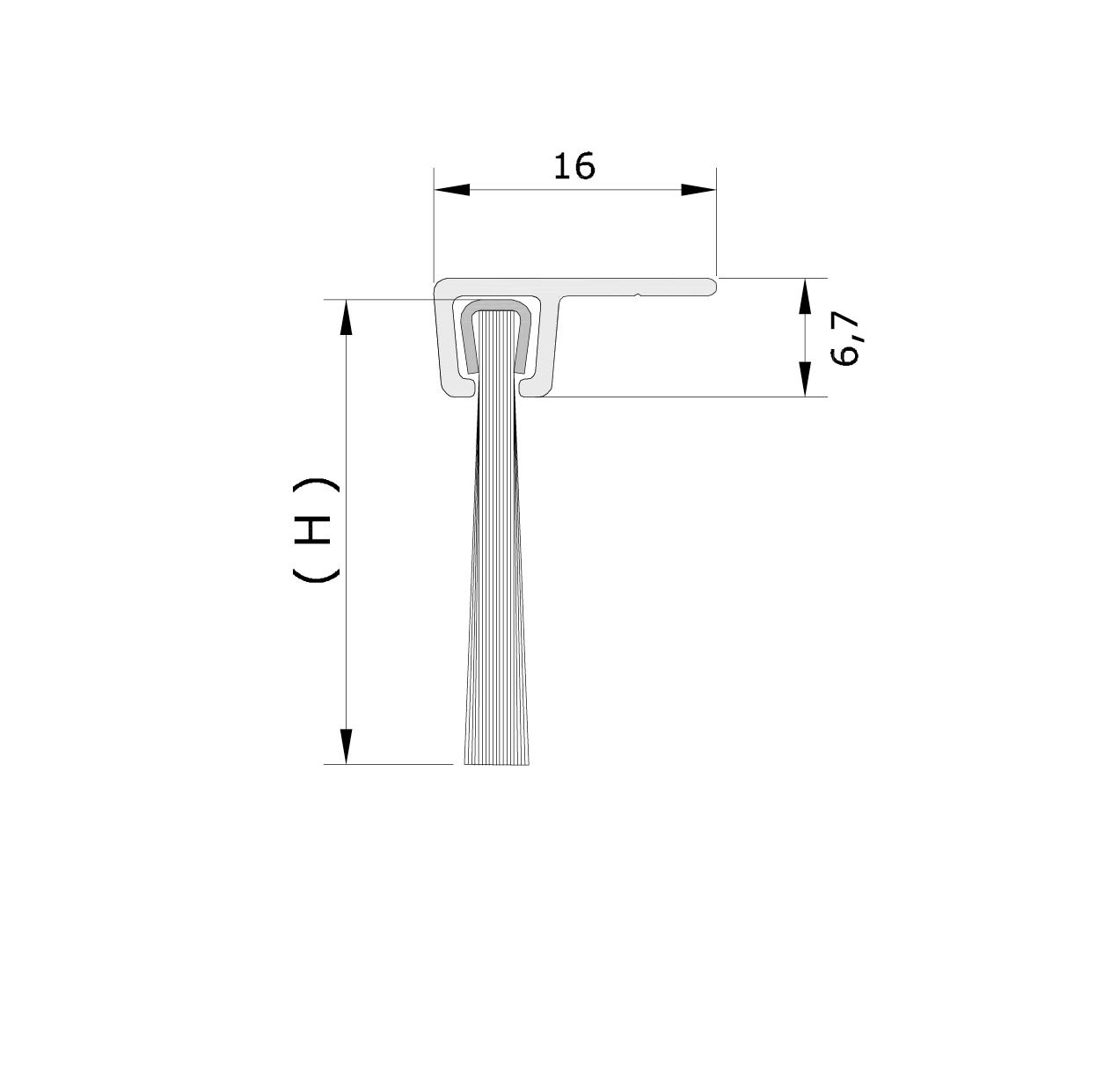 Misure standard (mm) per il paraspifferi Serie Comax 126
