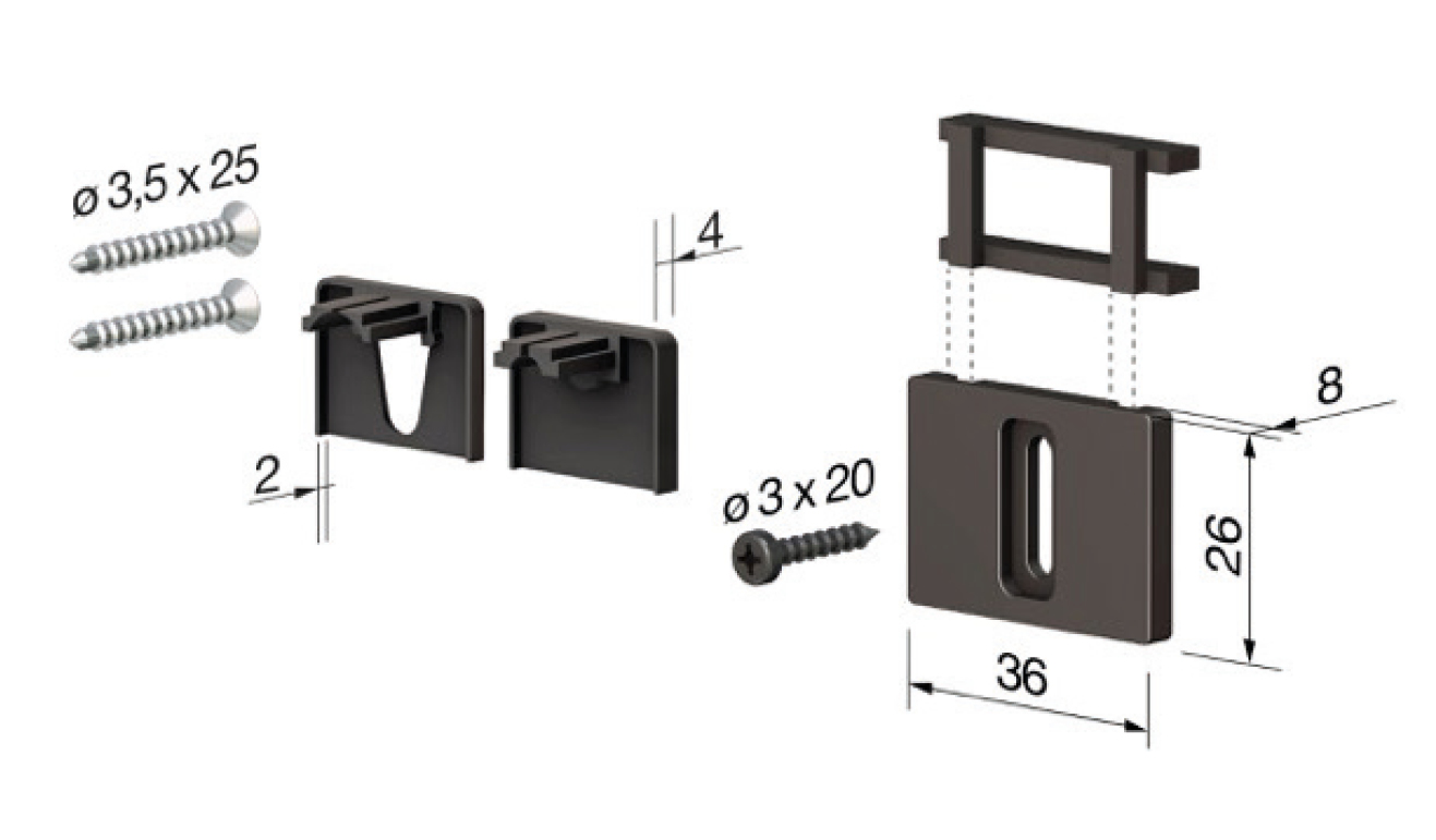 Accessori standard per il paraspifferi Serie No Sound 1300