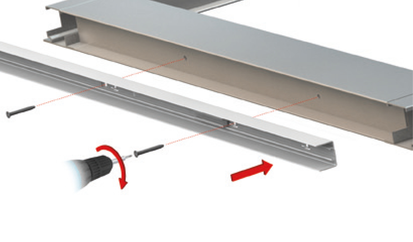Standard fastening system for drop down seal Serie No Sound 1300
