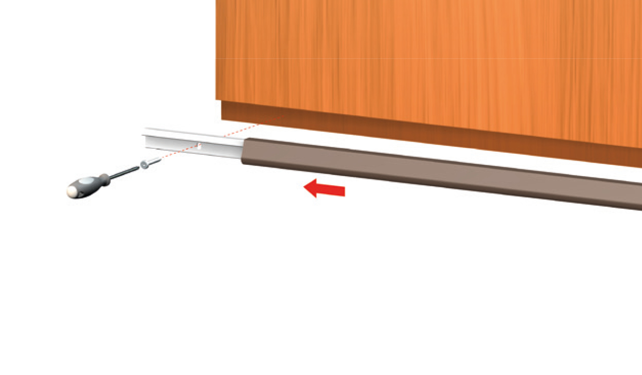 Standard fastening system for drop down seal Serie Universal 1350