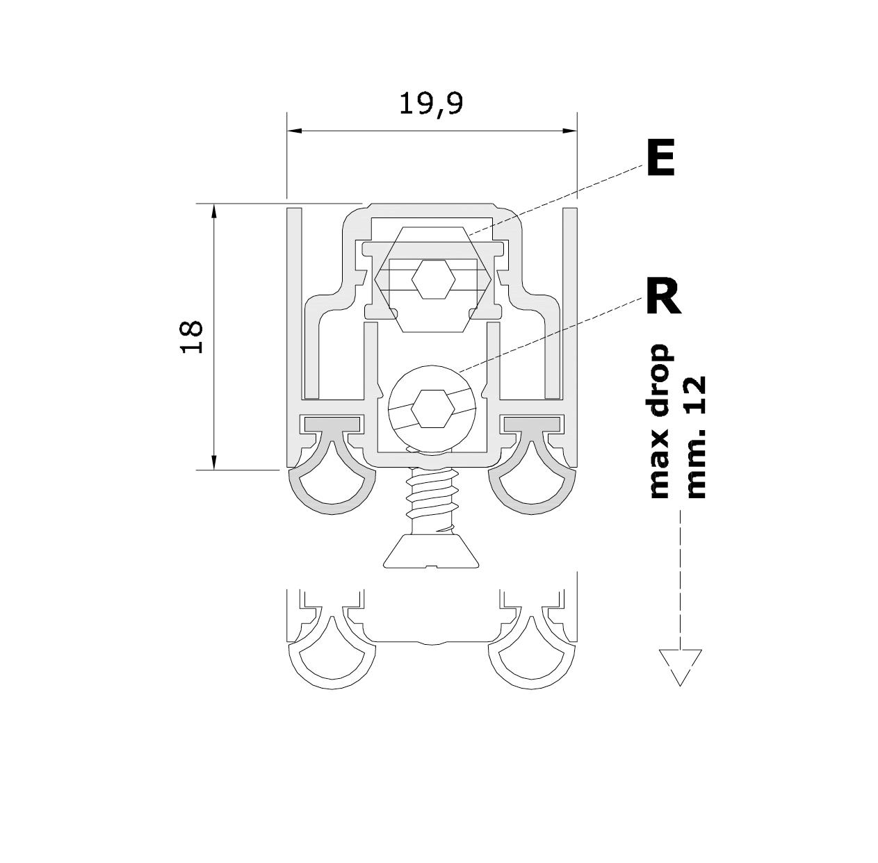 Misure standard (mm) per il paraspifferi Serie Special 1370