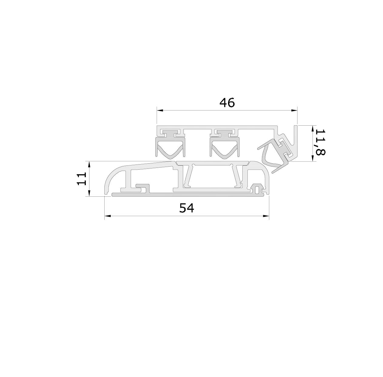 Misure standard (mm) per il paraspifferi Serie Universal 1375