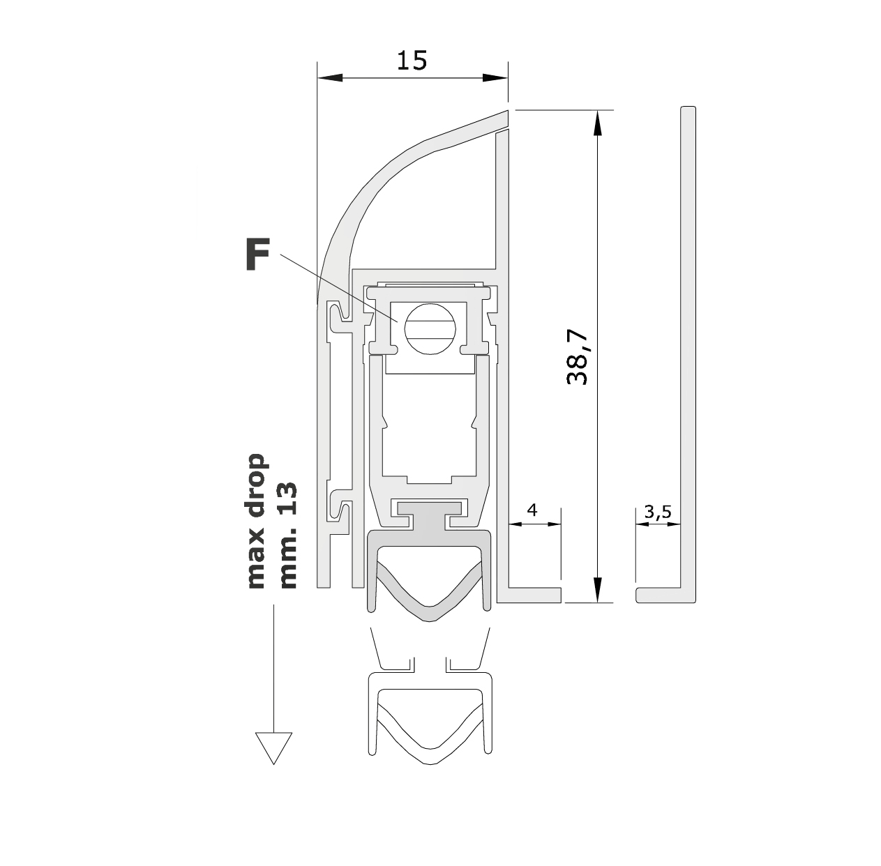 Misure standard (mm) per il paraspifferi Serie Comax 1460