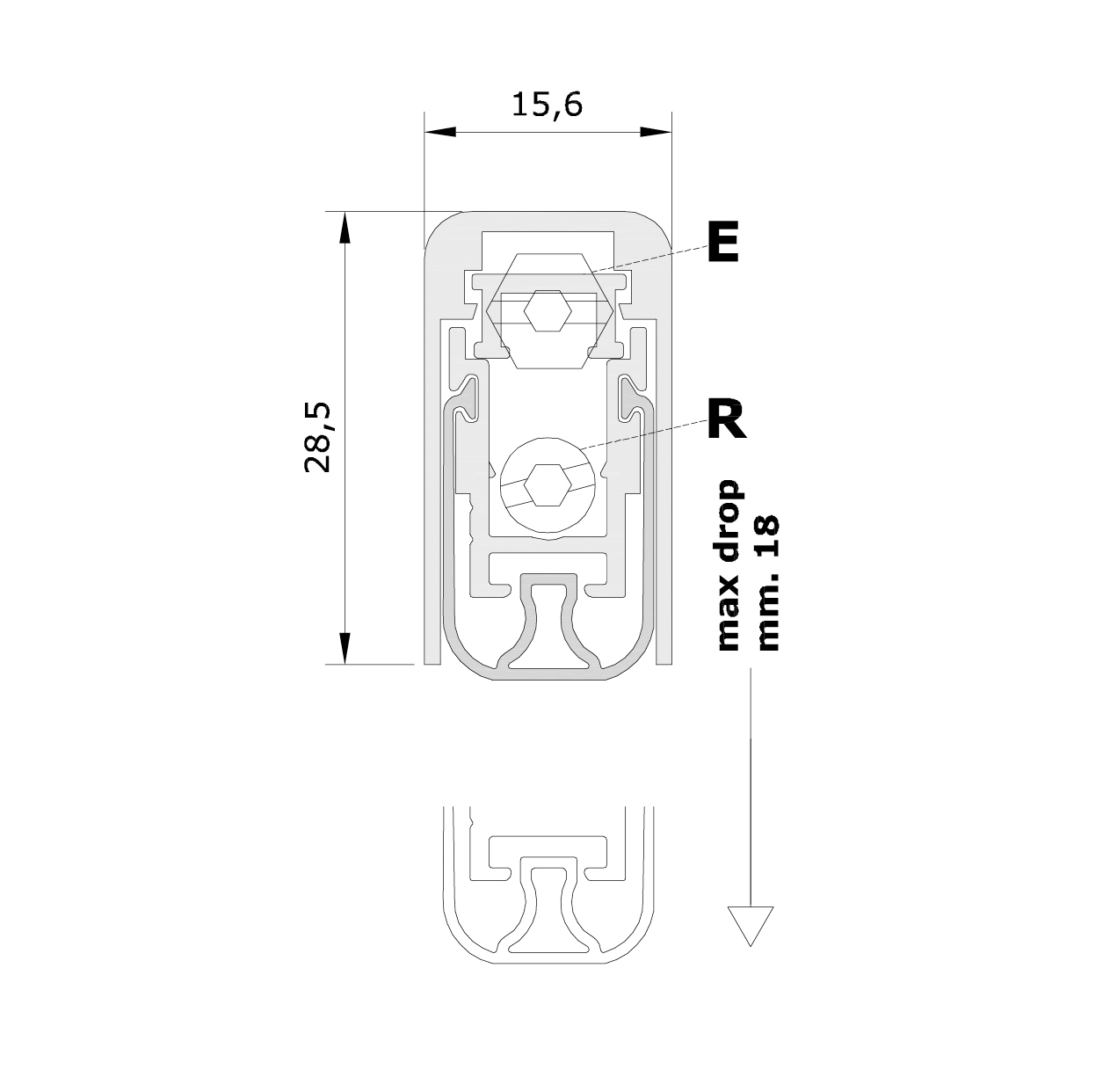 Standard measurements (mm) for drop down seal No Sound Series 1700
