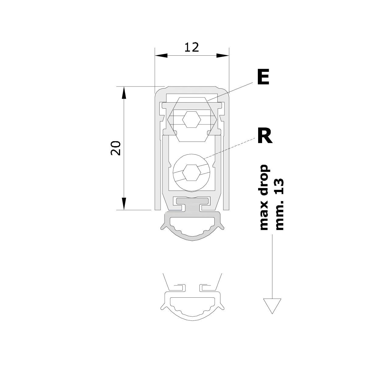 Misure standard (mm) per il paraspifferi Serie Pressure 1700