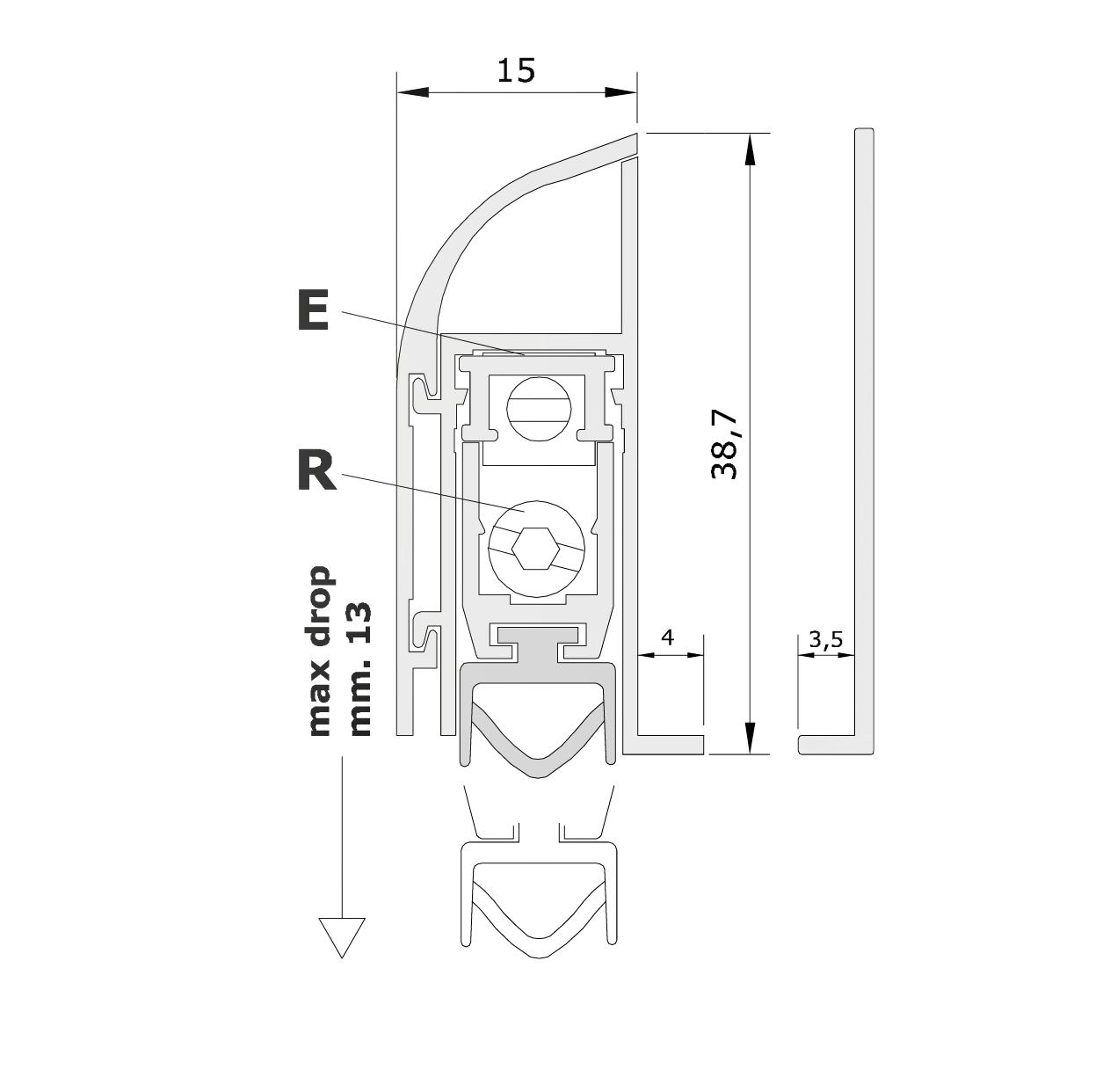 Misure standard (mm) per il paraspifferi Serie Comax 1760