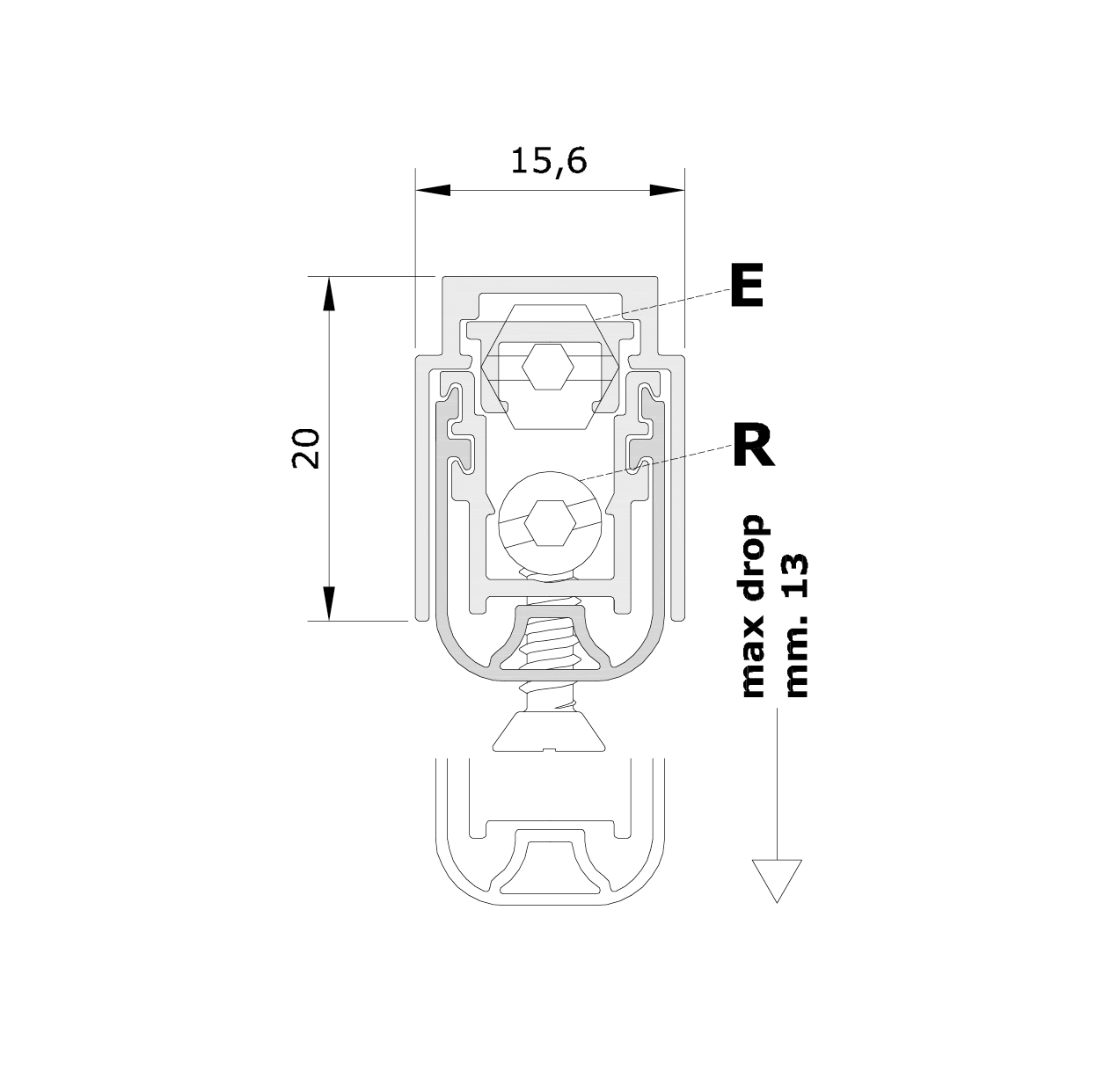 Misure standard (mm) per il paraspifferi Serie Pressure 1770