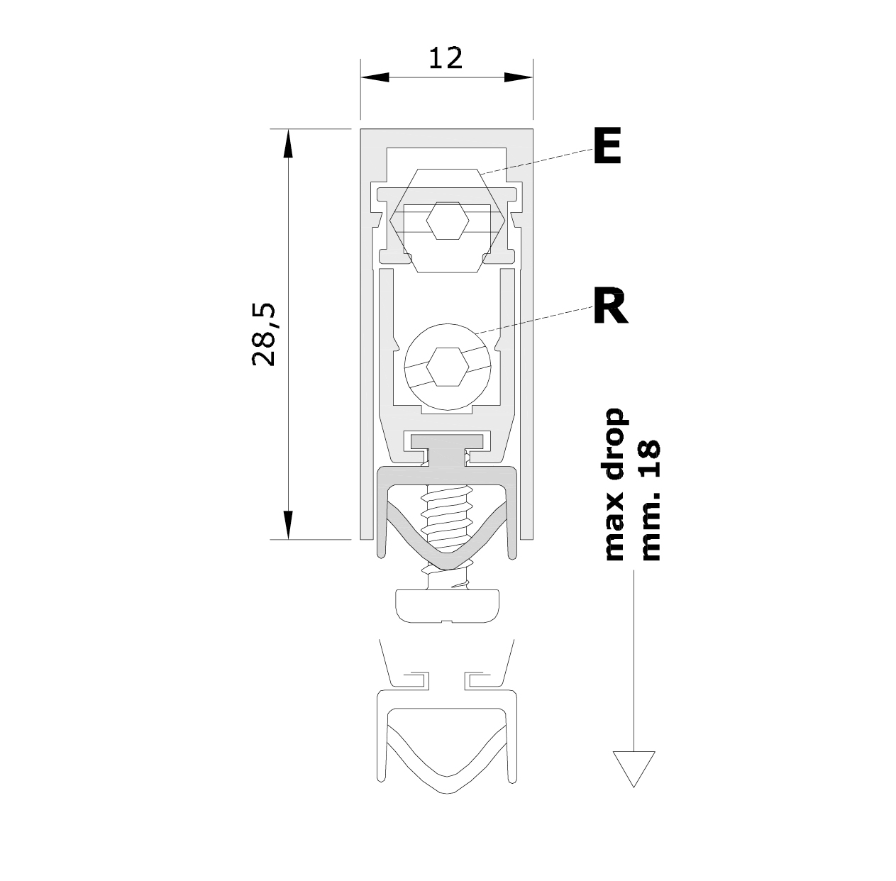 Misure standard (mm) per il paraspifferi Serie Pressure 1772