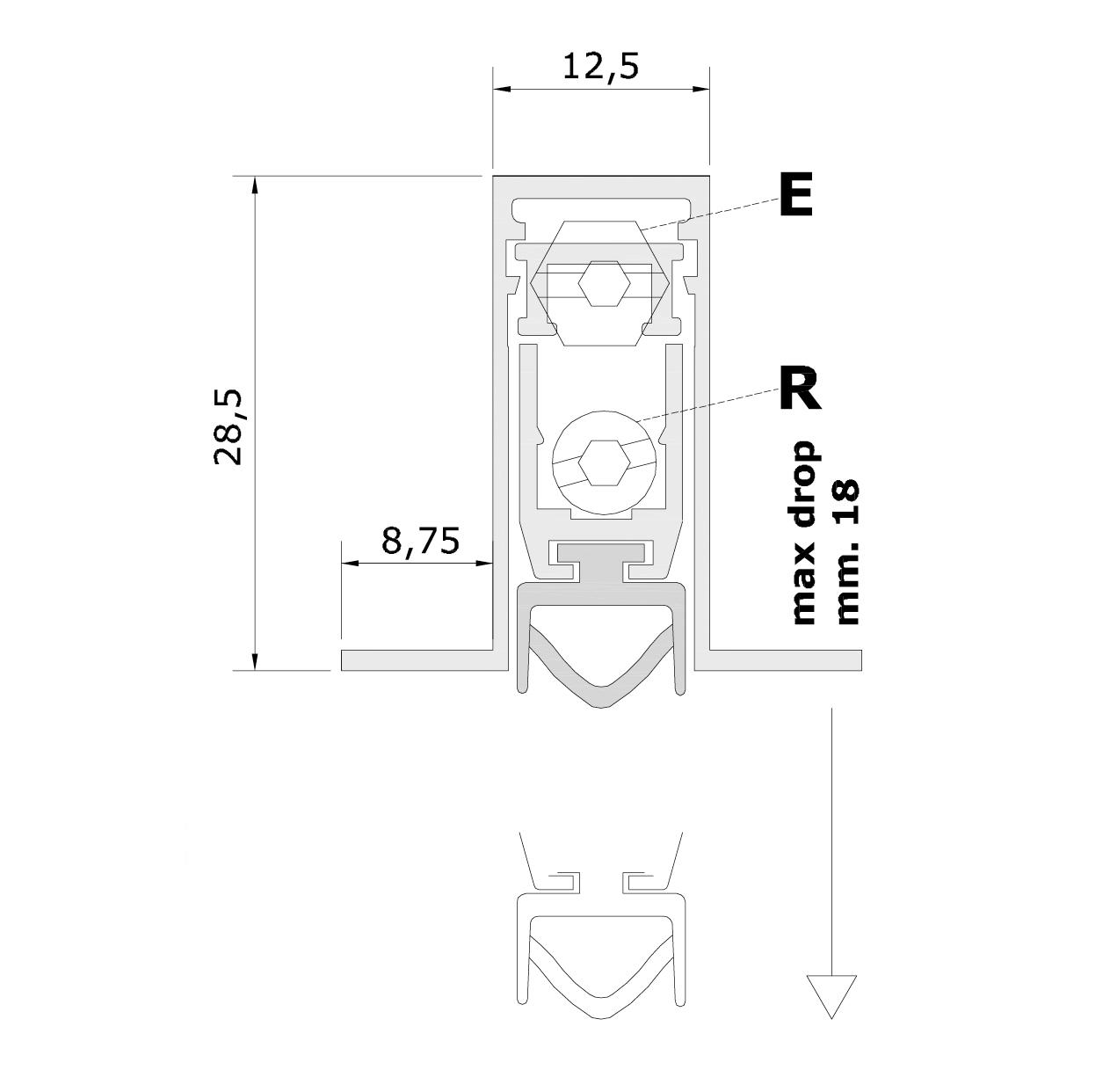 Misure standard (mm) per il paraspifferi Serie Pressure 1800