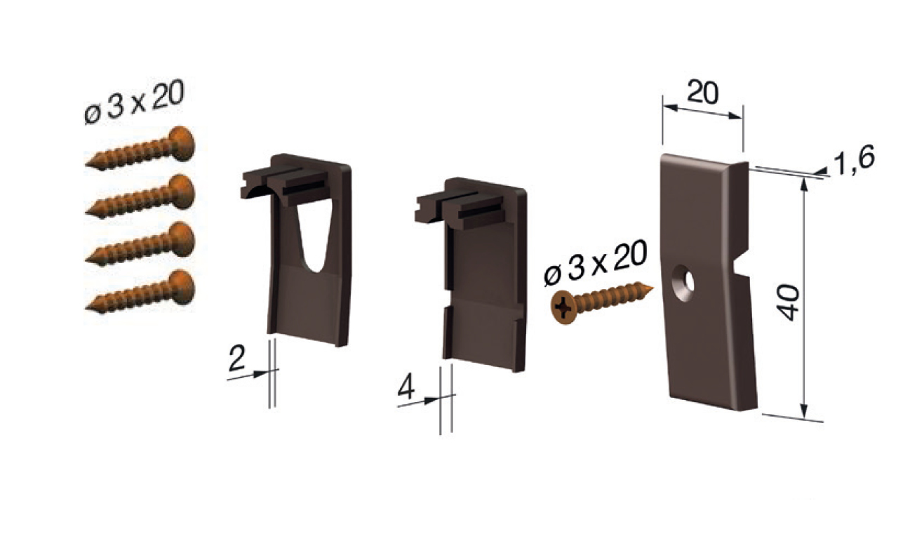 Standard accessories for drop down seal No Sound Series 1800