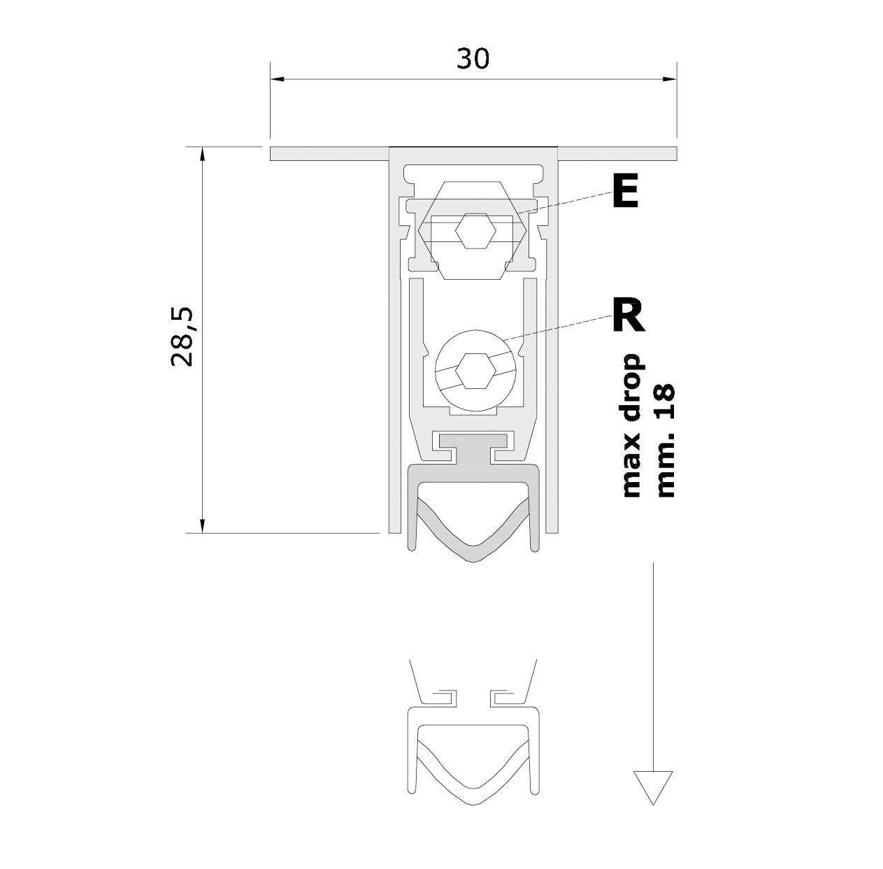Misure standard (mm) per il paraspifferi Serie Pressure 1830