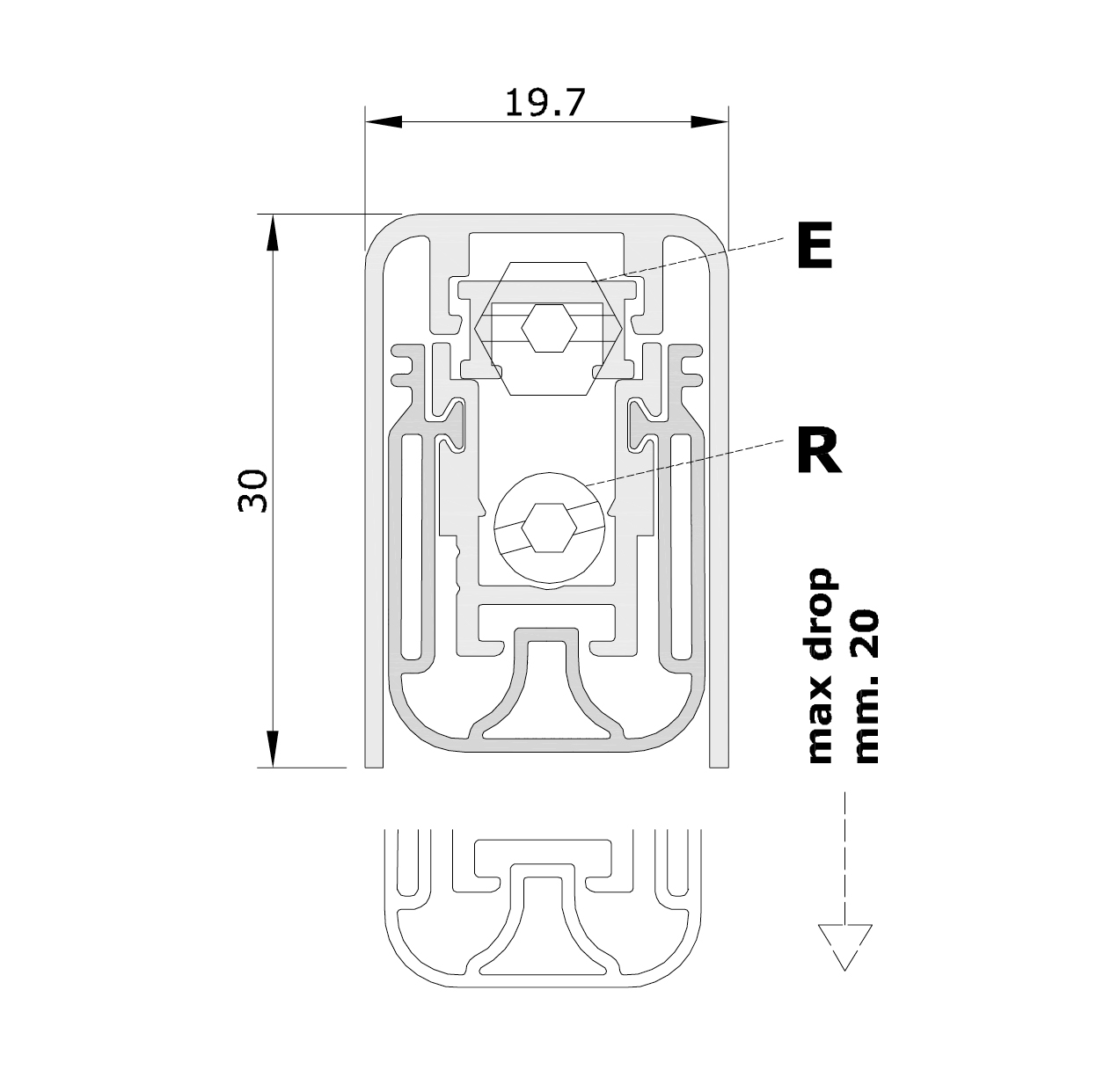 Standard measurements (mm) for drop down seal No Sound Series I-2015/2