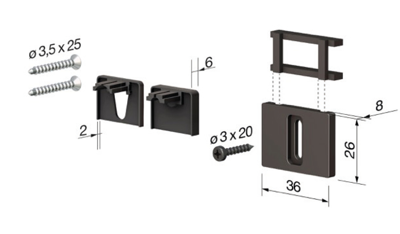 Accessori standard per il paraspifferi Serie No Sound 270