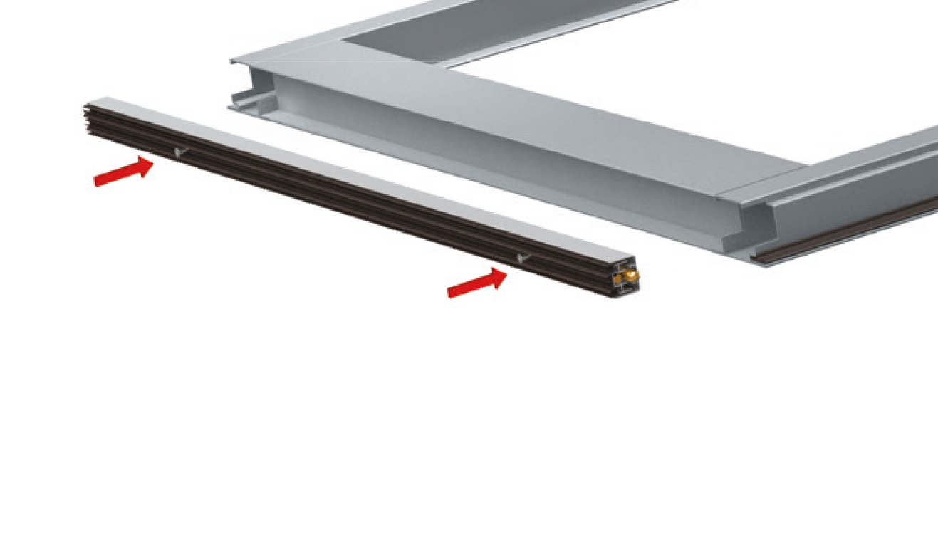 Standard fastening system for drop down seal Serie No Sound 270