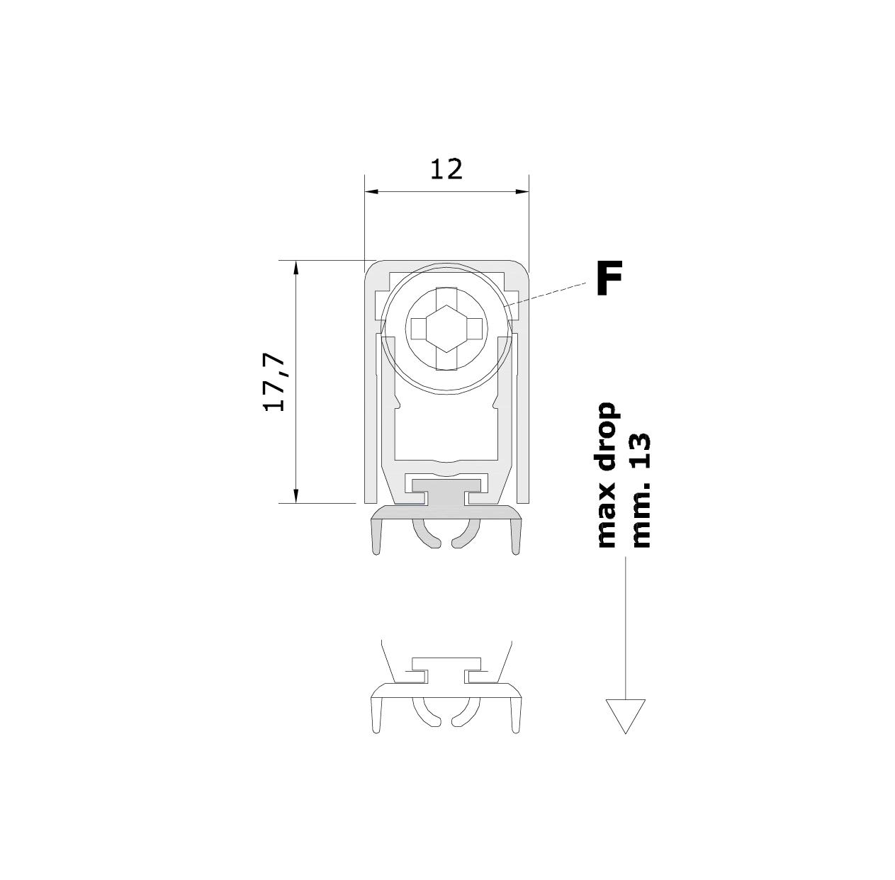 Misure standard (mm) per il paraspifferi Serie Basic 420