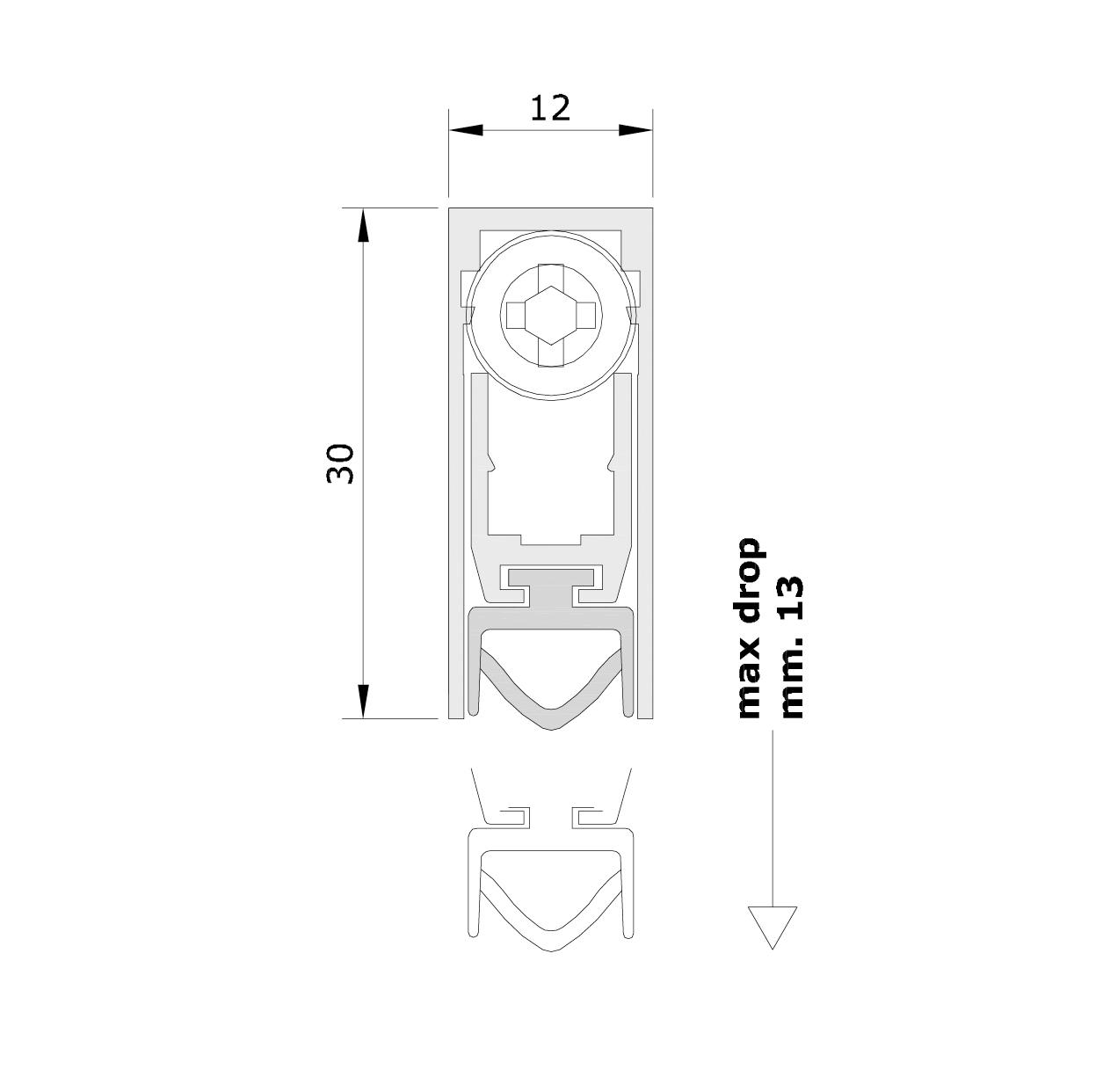Misure standard (mm) per il paraspifferi Serie Basic 422