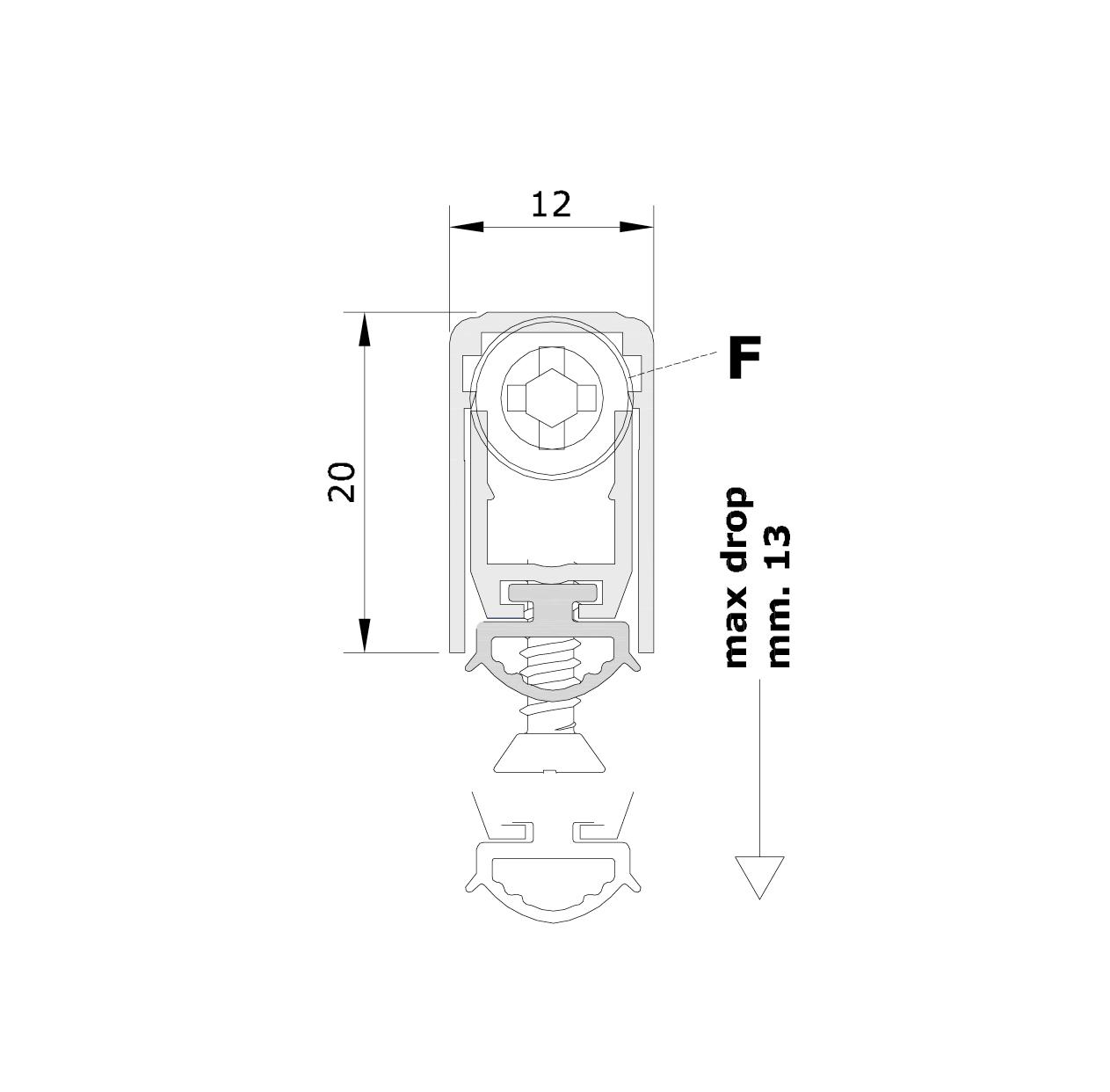 Misure standard (mm) per il paraspifferi Serie Basic 472