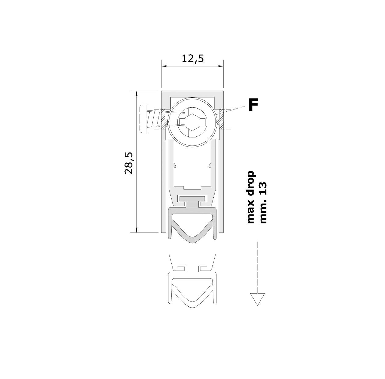 Misure standard (mm) per il paraspifferi Serie Basic 475