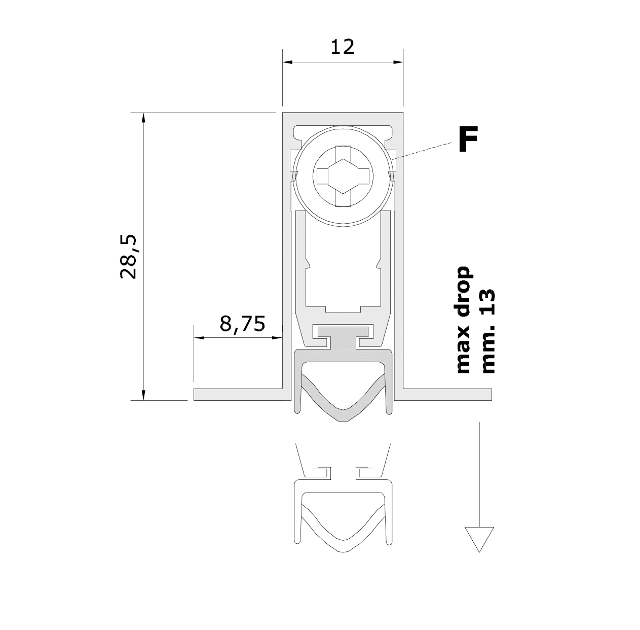 Standard measurements (mm) for drop down seal Serie Basic 512