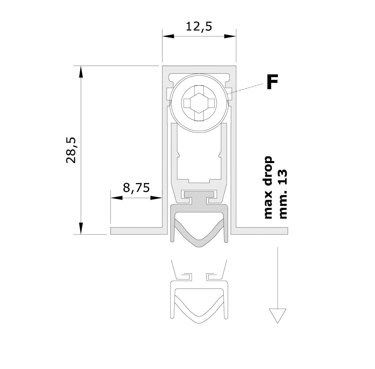 Misure standard (mm) per il paraspifferi Serie Basic 520