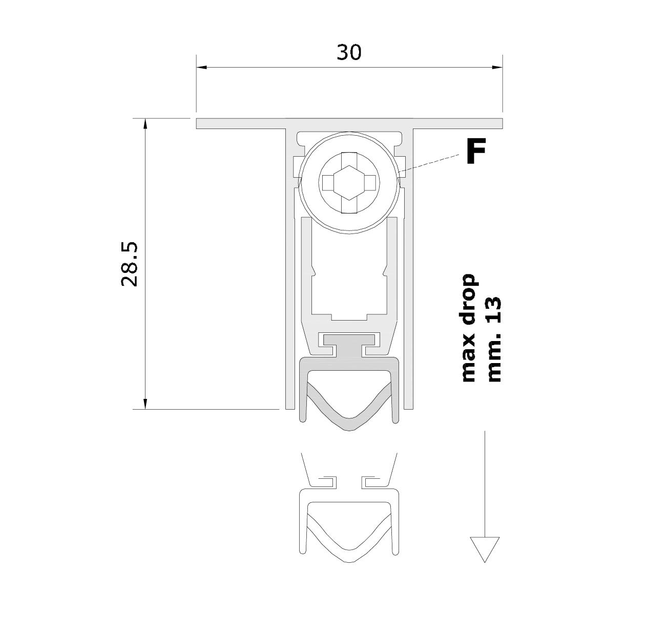 Misure standard (mm) per il paraspifferi Serie Basic 540