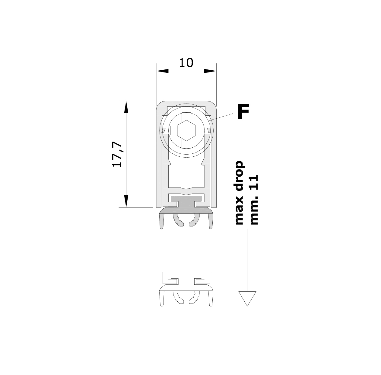 Standard measurements (mm) for drop down seal Special Series 920