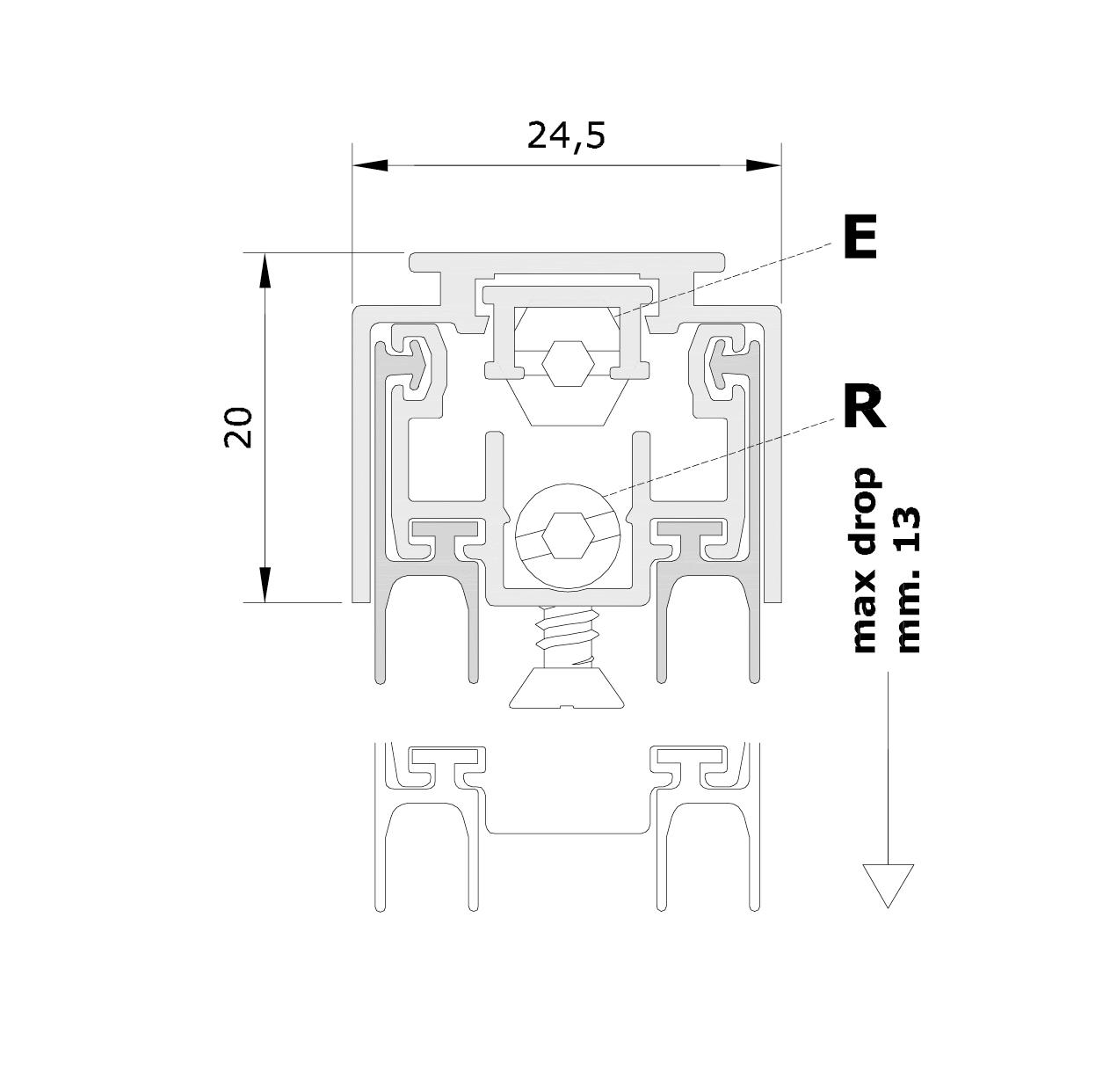 Misure standard (mm) per il paraspifferi Serie Special AE
